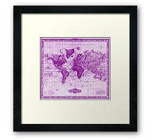 Vintage Map of The World (1833) White & Purple Framed Print