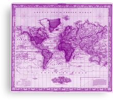 Vintage Map of The World (1833) White & Purple Canvas Print