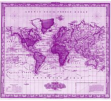 Vintage Map of The World (1833) White & Purple Photographic Print