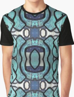 Blue Graffiti Design Graphic T-Shirt