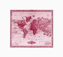 Vintage Map of The World (1833) White & Red Unisex T-Shirt