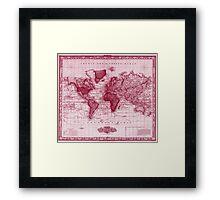 Vintage Map of The World (1833) White & Red Framed Print