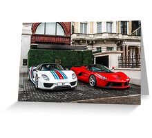 Porsche 918 Spyder & Ferrari LaFerrari Greeting Card