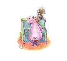 Hippo playing the Piano Pencil Drawing of Music Animal Photographic Print
