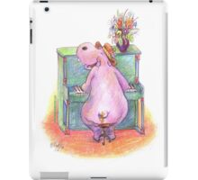 Hippo playing the Piano Pencil Drawing of Music Animal iPad Case/Skin