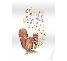 Saxophone Squirrel Poster