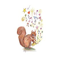 Saxophone Squirrel Photographic Print