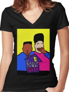 Welcome to my HOUSE PARTY Women's Fitted V-Neck T-Shirt