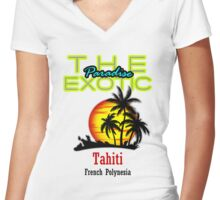 The Exotic Paradise, Tahiti Women's Fitted V-Neck T-Shirt