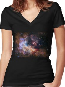 Deep Space Nebula Galaxy Women's Fitted V-Neck T-Shirt