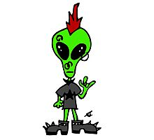 Little Greenie the Alien Discovers Punk Style! Photographic Print