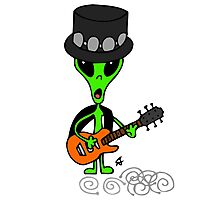 Little Greenie the Alien Discovers Rock n' Roll! Photographic Print