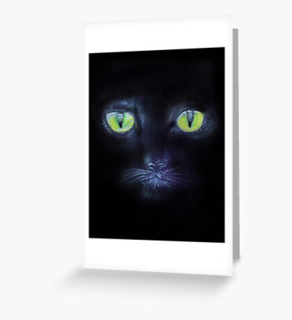 A Black Cat with Green Eyes Greeting Card