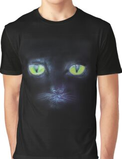 A Black Cat with Green Eyes Graphic T-Shirt