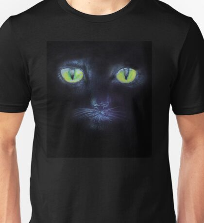 A Black Cat with Green Eyes Unisex T-Shirt