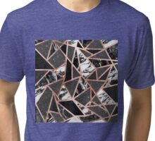 Modern Rose Gold Glitter Marble Geometric Triangle Tri-blend T-Shirt