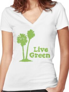 Live Green Women's Fitted V-Neck T-Shirt