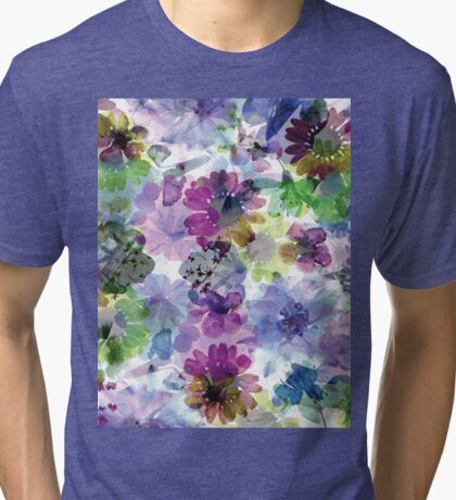 Colourful Digital Flower Abstract Tri-blend T-Shirt