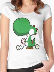 Egg Chuckin' Dinosaur Women's Fitted Scoop T-Shirt