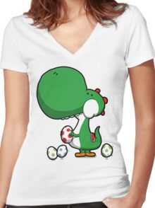 Egg Chuckin' Dinosaur Women's Fitted V-Neck T-Shirt