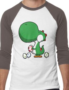 Egg Chuckin' Dinosaur Men's Baseball ¾ T-Shirt