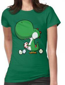 Egg Chuckin' Dinosaur Womens Fitted T-Shirt