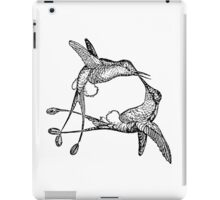Vintage Hummingbird Bird Illustration Retro 1800s Black and White Hummingbirds Birds Image iPad Case/Skin