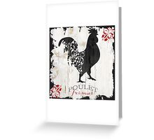 Ferme Rooster Poulet Damask Greeting Card