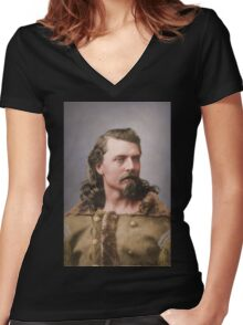 Young Buffalo Bill Women's Fitted V-Neck T-Shirt