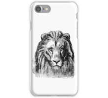 Vintage Lion Head Illustration Retro 1800s Black and White Image iPhone Case/Skin