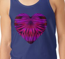 Art Deco Heart with Glowing Mauve and Purple Petals Tank Top