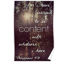 I Have Learned to be Content Poster