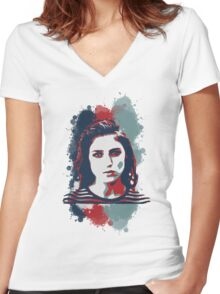 STENCIL PORTRAIT Women's Fitted V-Neck T-Shirt