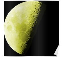Yellow Luminous Neon Moon Waning Quarter Phase of the Moon Poster