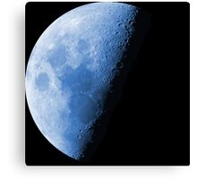 Cool Blue Neon Moon Waning Quarter Phase of the Moon Canvas Print