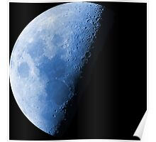 Cool Blue Neon Moon Waning Quarter Phase of the Moon Poster
