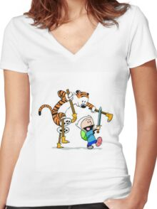 adventure time calvin hobbes Women's Fitted V-Neck T-Shirt