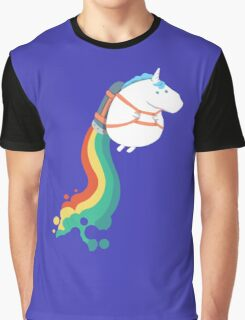 Fat Unicorn on Rainbow Jetpack Graphic T-Shirt
