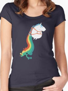 Fat Unicorn on Rainbow Jetpack Women's Fitted Scoop T-Shirt