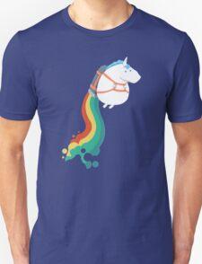Fat Unicorn on Rainbow Jetpack Unisex T-Shirt