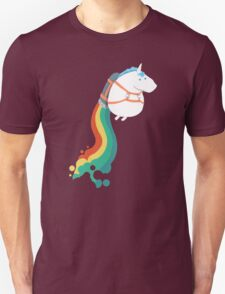 Fat Unicorn on Rainbow Jetpack Unisex T-Shirt