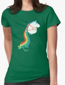 Fat Unicorn on Rainbow Jetpack Womens Fitted T-Shirt
