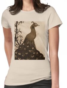 peacock in sepia Womens Fitted T-Shirt