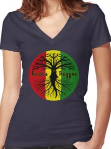ROOTS REGGAE Women's Fitted V-Neck T-Shirt
