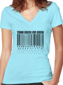 THINK GREEN LIVE GREEN Women's Fitted V-Neck T-Shirt