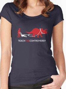 Dinosaur Human Coexistence Women's Fitted Scoop T-Shirt