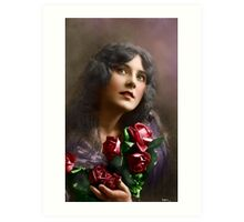 Colorized Vintage Young Beauty II Art Print
