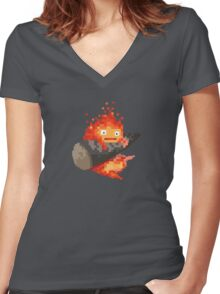 Calcifer, 8-bit painting style (Howl's moving castle) Women's Fitted V-Neck T-Shirt