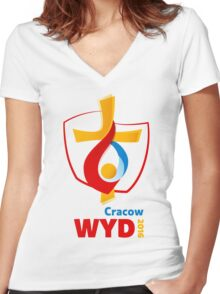 World Youth Day 2016 in Cracow logo Women's Fitted V-Neck T-Shirt