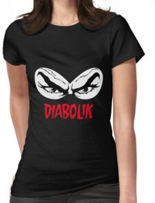 Diabolik eyes comic hero, with name Womens Fitted T-Shirt